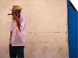 Old Man with Transistor Radio and Cigar, Havana, Havana, Cuba Posters by Dominic Bonuccelli