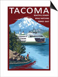 Ferry & Mount Rainier Scene - Tacoma, Washington Prints by  Lantern Press