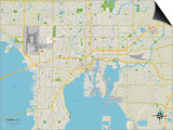 Political Map of Tampa, FL Art