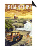 Oregon Coast - Woody and Lighthouse Print by  Lantern Press