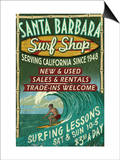 Santa Barbara, California - Surf Shop Prints by  Lantern Press