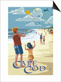 Cape Cod, Massachusetts - Kite Flyers Prints by  Lantern Press