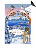 Lake Tahoe, CA Winter Views Poster by  Lantern Press