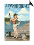 Lake Winnipesaukee, New Hampshire - Pinup Girl Fishing Print by  Lantern Press