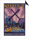 Nashville, Tennessee - Skyline at Night Posters by  Lantern Press