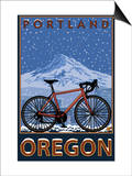 Mountain Bike in Snow - Portland, Oregon Posters