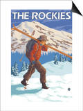 Skier Carrying Snow Skis, The Rockies Poster