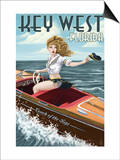 Key West, Florida - Boating Pinup Girl Prints by  Lantern Press