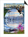 Seward, Alaska - Montage Prints by  Lantern Press