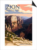 Zion National Park - Zion Canyon Sunset Prints by  Lantern Press
