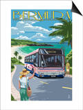 Bermuda - Pink Bus on Coastline Posters by  Lantern Press