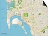 Political Map of San Diego, CA Prints
