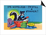 Comic Cartoon - Skunk Bathing; It's Hopeless, I'm Still a Stinker Poster by  Lantern Press