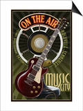 Nashville, Tennessee - Guitar and Microphone Posters by  Lantern Press