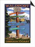 Waldport, Oregon - Sign Destinations Prints by  Lantern Press