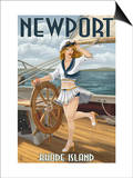 Newport, Rhode Island - Pinup Girl Sailing Posters by  Lantern Press