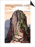 Zion National Park - Angels Landing and Condors Print by  Lantern Press