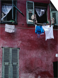 Laundry and Garlic Drying from Upstairs Window, Nice, Provence-Alpes-Cote d'Azur, France Poster by Jeffrey Becom