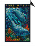 Fort Myers, Florida - Dolphins Paper Mosaic Prints by  Lantern Press