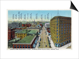 Denver, Colorado - View Down 17th Street Showing Brown Palace Hotel Print by  Lantern Press