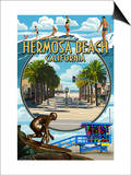 Hermosa Beach, California - Montage Scenes Print by  Lantern Press