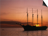 Tall Ship at Anchor South of Rouseau, West Coast, Roseau, Dominica Posters by Michael Lawrence