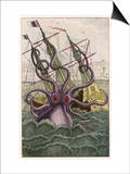 Kraken Attacks a Sailing Vessel Art by Denys De Montfort
