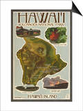 Map of Hawaii - Hawaii Volcanoes National Park Posters by  Lantern Press