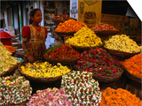 Flower Seller at the New Market., Kolkata, West Bengal, India Print by Greg Elms