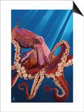 Octopus - Red Prints by  Lantern Press