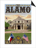 The Alamo Morning Scene - San Antonio, Texas Posters by  Lantern Press