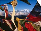 Buddhist Prayer Flags Framing Kangchenjunga Peak (8586M), Singali Ridge Prints by Garry Weare