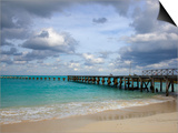 Jetty on Cancun Beach, with Grey Clouds Overhead Art by Sean Caffrey