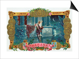 Flor de Romeo Brand Cigar Box Label, Famous Romeo and Juliet Balcony Scene Art