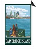 Bainbridge Island, WA - Ferry and Seattle Posters by  Lantern Press