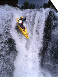 Kayak Flying over Fall One on Store Ula River, Oppland, Norway Posters by Anders Blomqvist