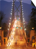 Lion's Gate Bridge Early Evening, Stanley Park, Vancouver, Canada Print by Lawrence Worcester