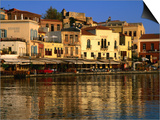 Morning Sunlight on Buildings on Harbour Hania, Crete, Greece Print by Glenn Beanland