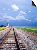 Railroad Tracks and Approaching Thunderstorm, Amarillo, Texas Posters by Holger Leue