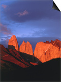 The Towers of Paine in Sunlight, Torres Del Paine National Park, Chile Print by Brent Winebrenner
