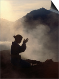 Woman Leaving an Offering on Mt. Batur, Batur, Bali, Indonesia Prints by Margie Politzer
