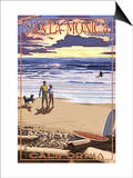 Santa Monica, California - Sunset Beach Scene Prints by  Lantern Press