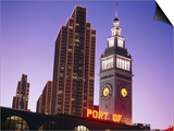 Ferry Building, Financial Buildings, Port of San Francisco Sign at Night, San Francisco, California Prints by Thomas Winz