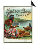Hudson Bay Brand Cigar Outer Box Label, Native American Poster