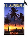 Ft. Lauderdale, Florida - Palms and Sunset Posters by  Lantern Press
