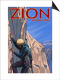 Zion National Park, UT - Climber Poster by  Lantern Press
