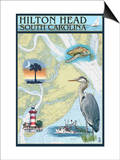 Hilton Head, South Carolina - Nautical Chart Art by  Lantern Press