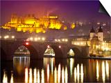 Heidelberg Castle and Alt Brucke (Old Bridge) over Neckar River at Dusk Posters by Richard l'Anson