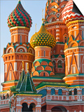 Walls and Domes of St Basils Cathedral (Pokrovsky Cathedral) in Red Square Print by Tim Makins