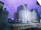 Michigan Avenue Bridge and Wrigley Building at Dusk, Chicago, United States of America Prints by Richard Cummins